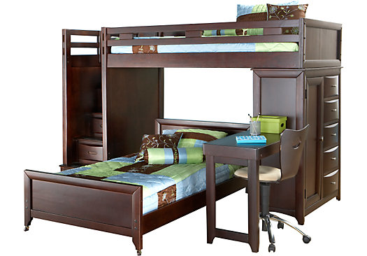 ivy league cherry twintwin step loft bunk with chest and desk childrens bunk bed desk full