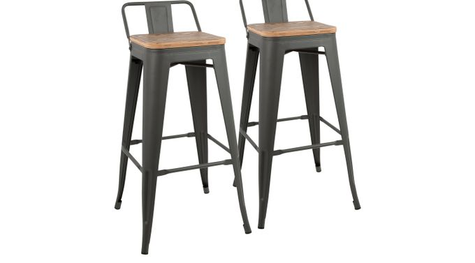 Amazing Aldersyde Brown Low Back Barstool Set Of 2 Andrewgaddart Wooden Chair Designs For Living Room Andrewgaddartcom