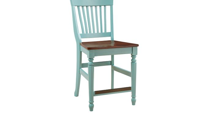 Ocean (blue)  Grove Blue/Green Wood Back Counter HeightStool - Traditional