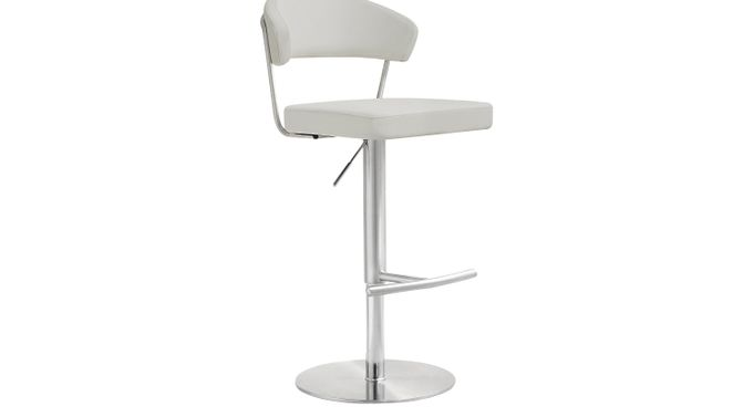 Cosmo Light Gray Adjustable Swivel Barstool - Adjustable Height - Contemporary