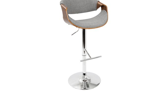 Curvo Gray Barstool - Bar Height - Contemporary
