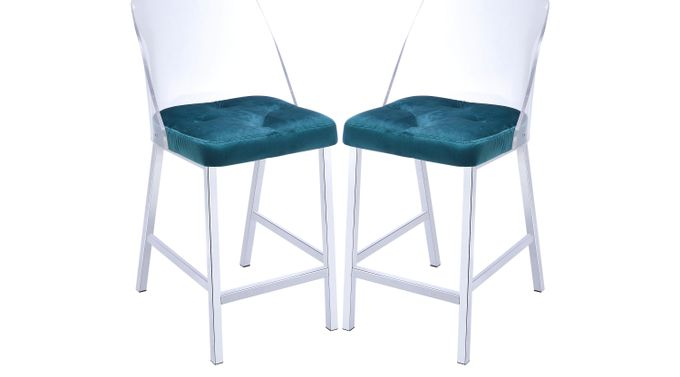 Nelton Teal Counter Height Stool (Set of 2) - Contemporary
