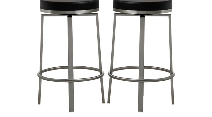 Rourke Black Counter Height Swivel Stools (Set of 2) - Contemporary