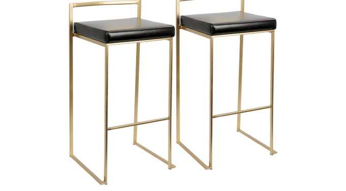 Sora Black Gold Barstool (Set of 2) - Bar Height - Contemporary