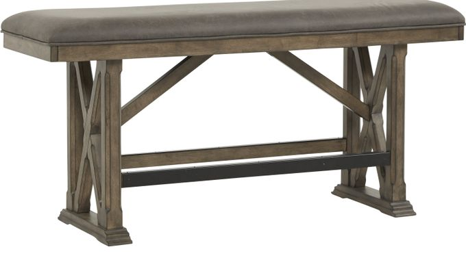 Bristow Charcoal (dark gray)  Counter Height Bench - Rustic
