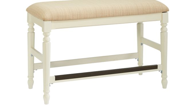 Ocean (blue)  Grove White Counter Height Bench - Traditional
