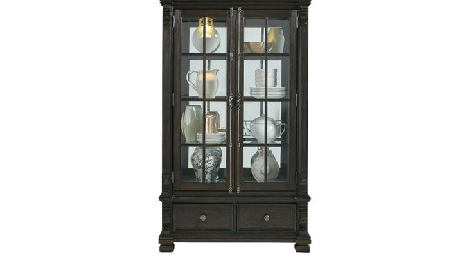 San Luis Oak 2 Pc China Cabinet - Formal