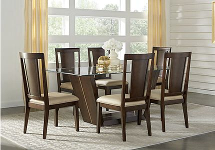 Ambassador Place Espresso 5 Pc Rectangle Dining Room With Glass Top