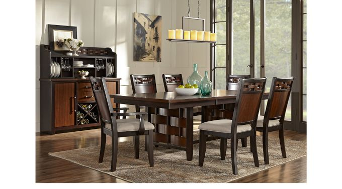 Bedford Heights Cherry 7 Pc Dining Room - Rectangle - Transitional