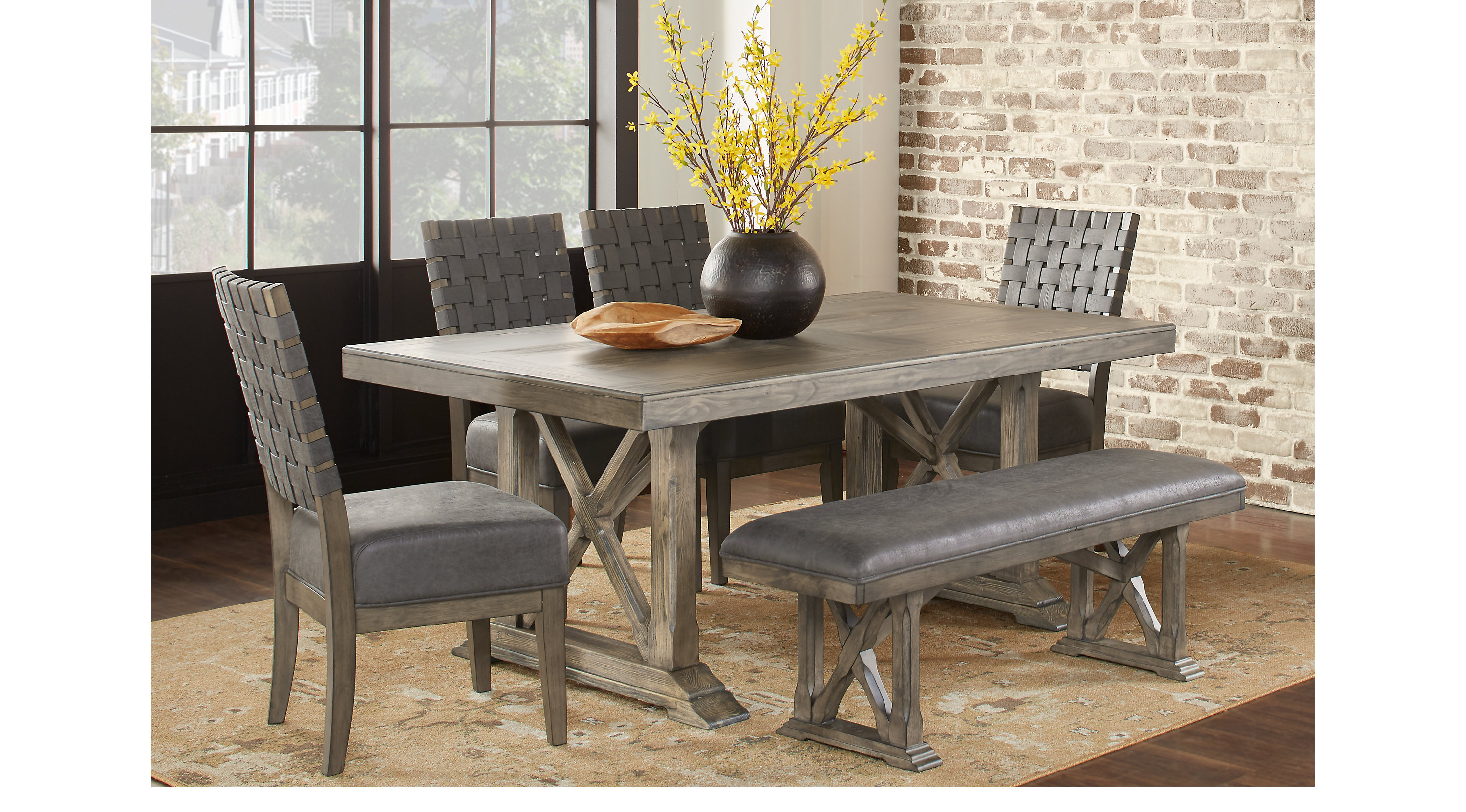 Cindy Crawford Dining Room Furniture Bristow Charcoal Dark Gray 6 Pc Rectangle Dining Room