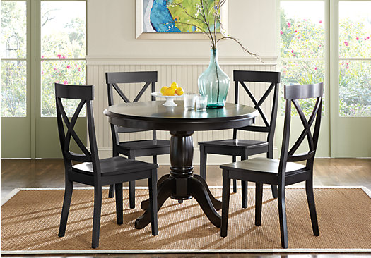 Brynwood Black 5 Pc Pedestal Dining Set Black Chairs