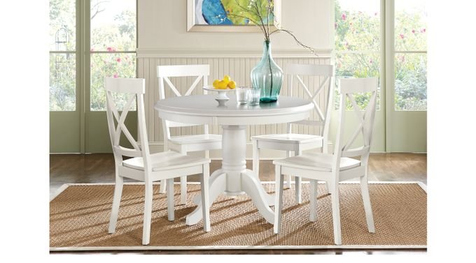 Brynwood White 5 Pc Pedestal Dining Set (White Chairs) - Round - Rustic