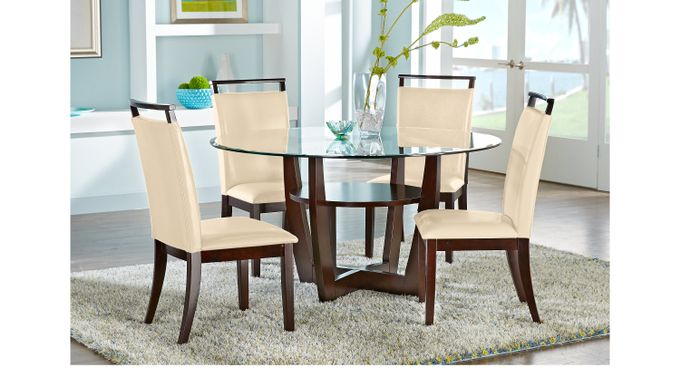Ciara Espresso (dark brown)  5 Pc Dining Set with Cream Chairs - Round - Contemporary