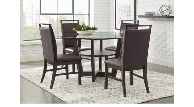Ciara Espresso (dark brown)  5 Pc Dining Set - Glass Top - Contemporary