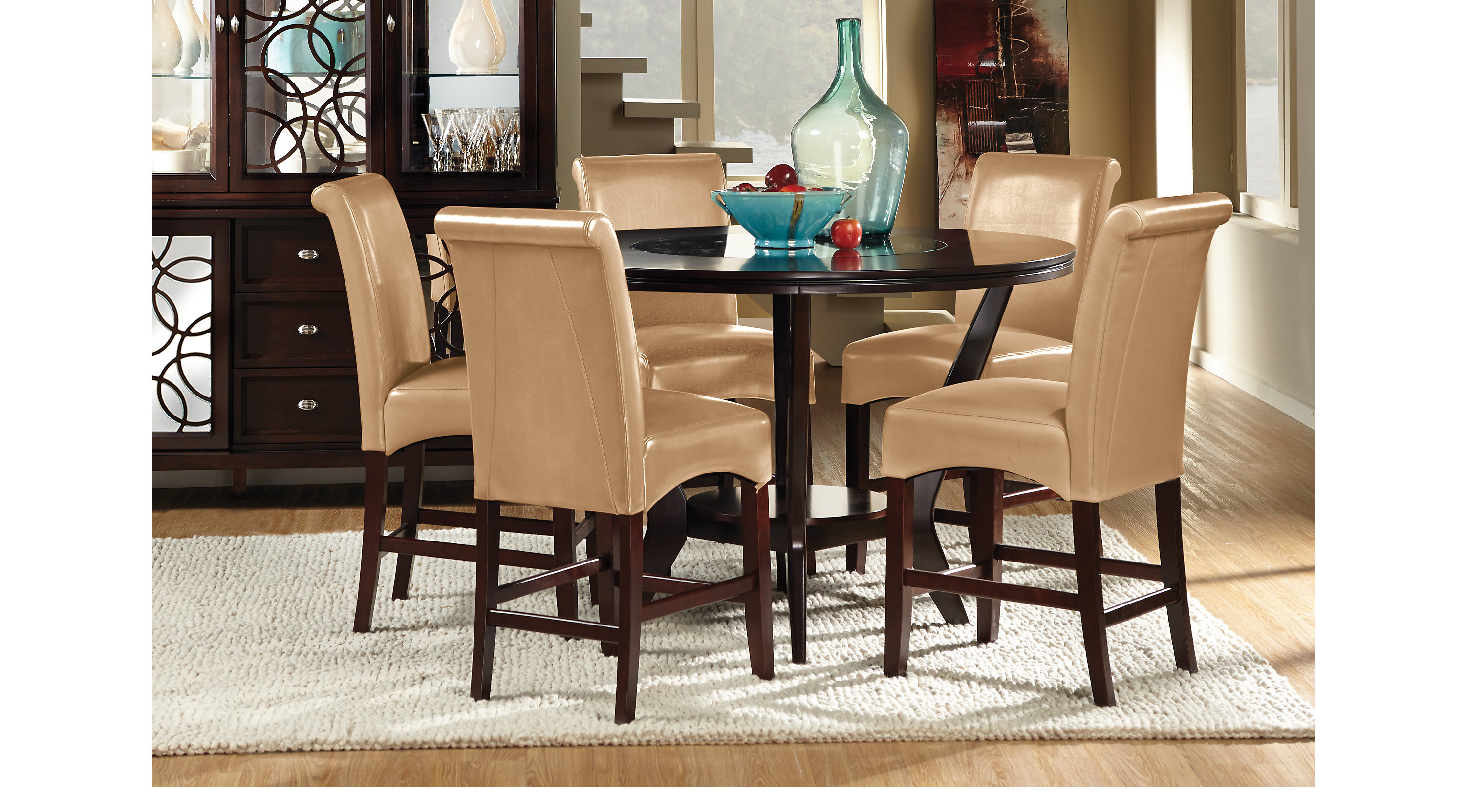 Cindy Crawford Dining Room Furniture Highland Park Ebony 5 Pc Counter Height Dining Room