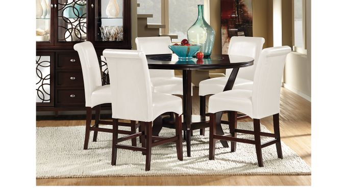 Highland Park Ebony 5 Pc Counter Height Dining Room, Upholstered