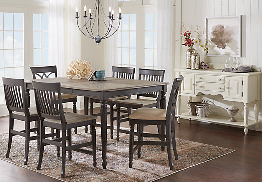 Countertop Height Kitchen Table Sets : Cindy Crawford Home Ocean Grove Gray 5 Pc Counter Height Dining Room