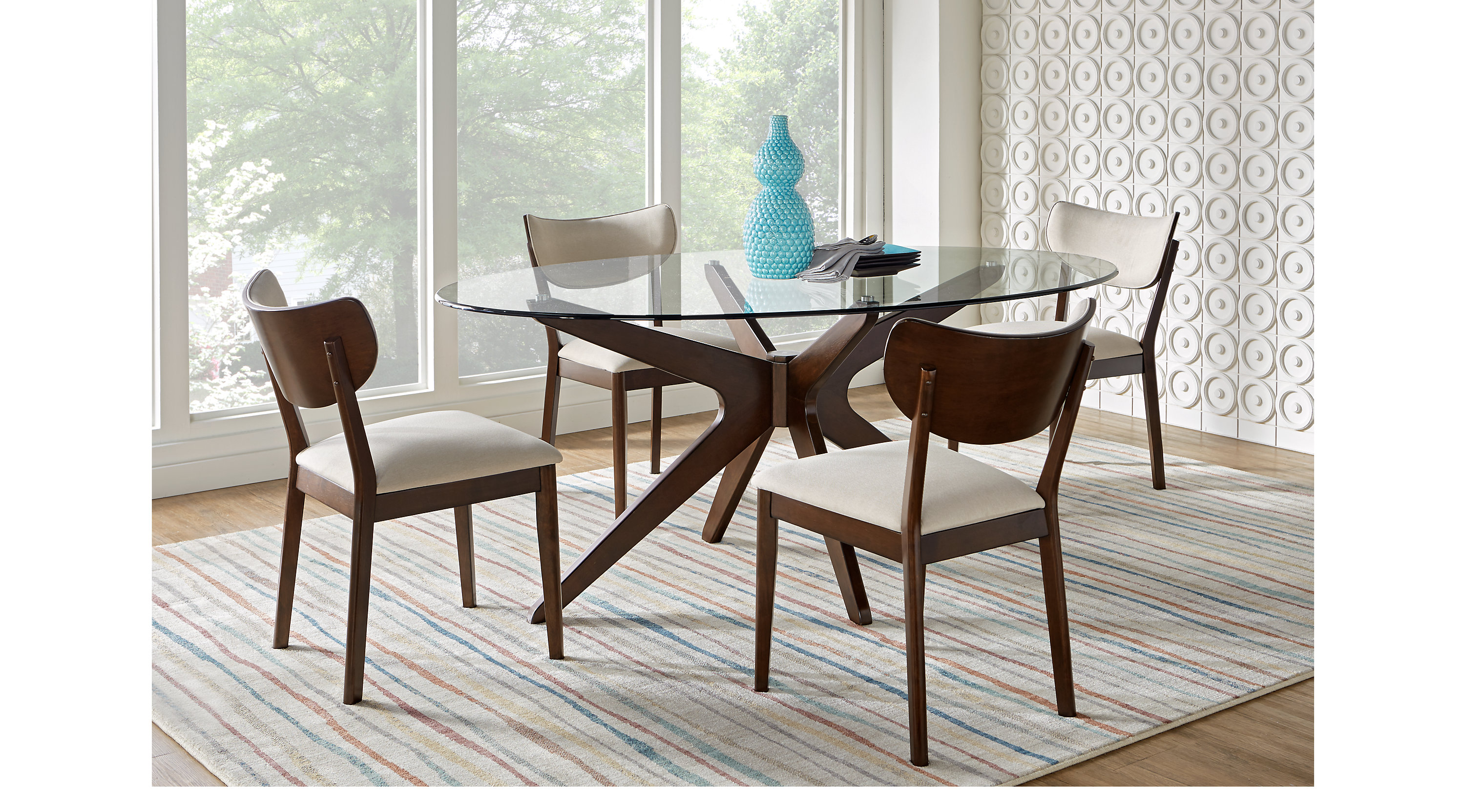 Delmon Walnut dark brown 5 Pc Oval Dining Set Contemporary
