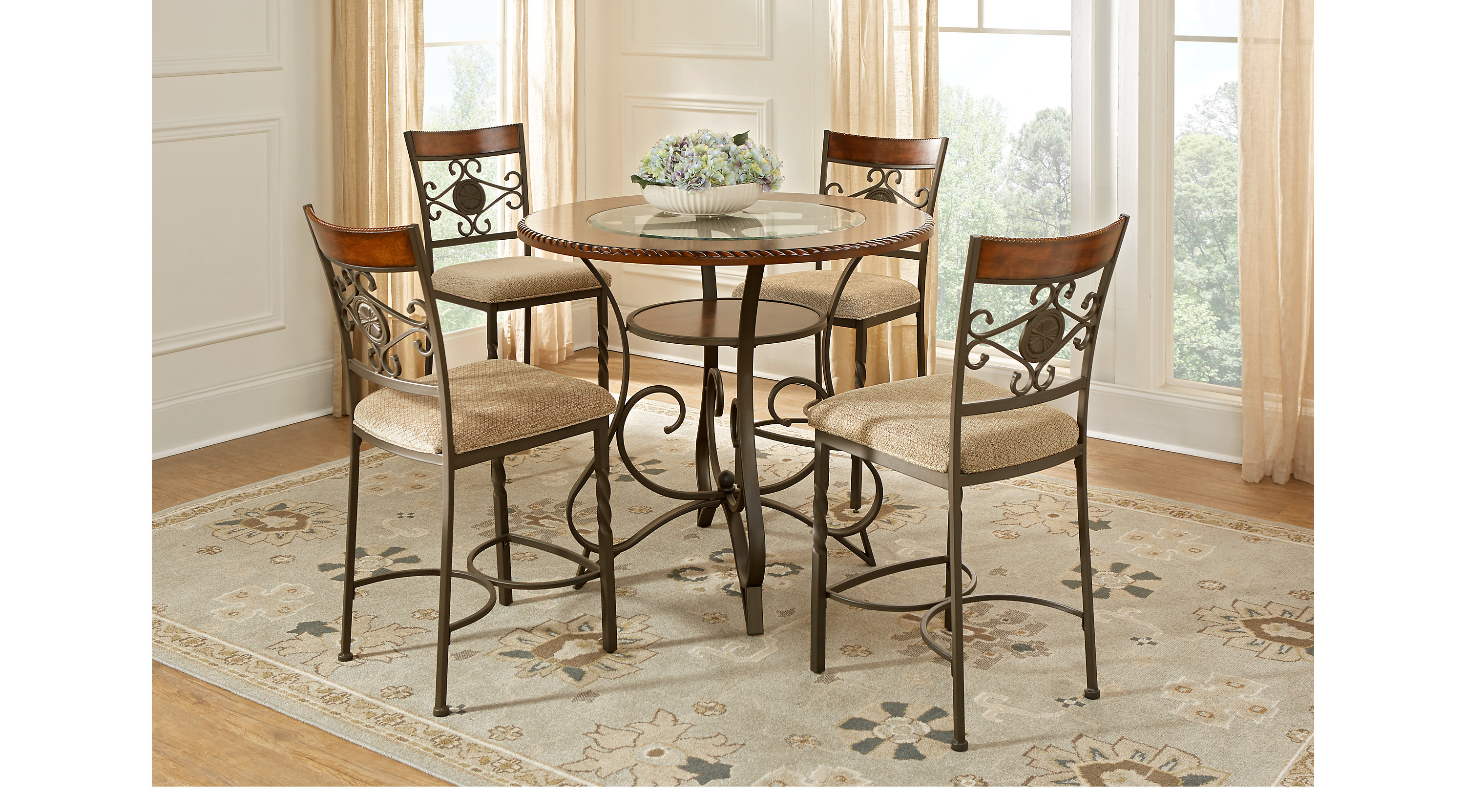Duval Street Cherry 5 Pc Counter Height Dining Set   Glass Top    Transitional