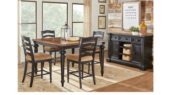 Eric Church Highway To Home Arrow Ridge Ebony 5 Pc Counter Height Dining Room - Traditional