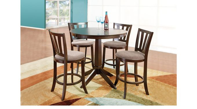 Hallie Espresso (dark brown)  5 Pc Counter Height Dining Room - Casual