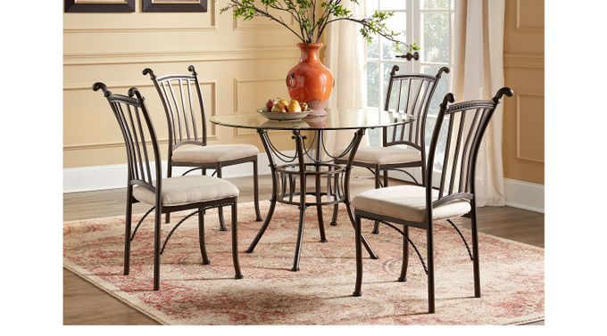 metal dining room sets | Hoyt 48 in. Metal 5 Pc Round Dining Set - Casual