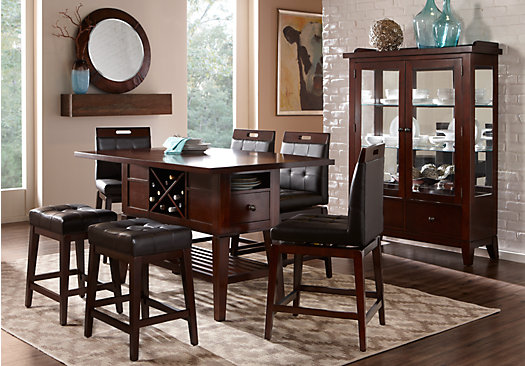 Julian Place Chocolate (brown) 5 Pc Counter Height Dining Room   Rectangle    Transitional