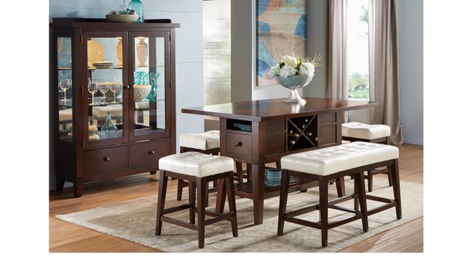 Julian Place Chocolate (brown) /Vanilla (off-white)  5 Pc Counter Height Dining Room - Rectangle - Transitional
