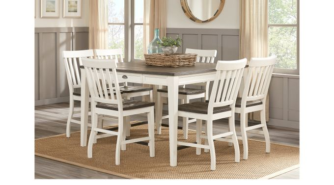 Keston White 5 Pc Square Counter Height Dining Room - Casual