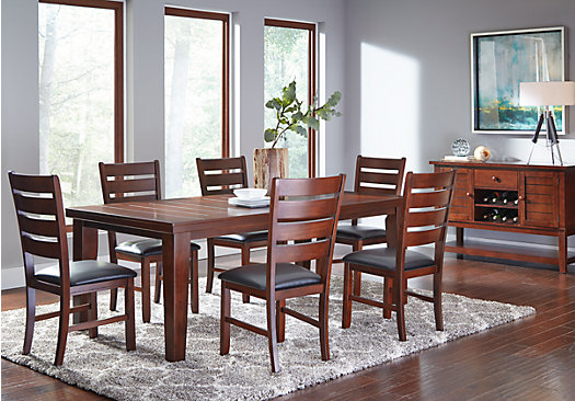 tahoe brown 7 pc rectangle dining room - traditional