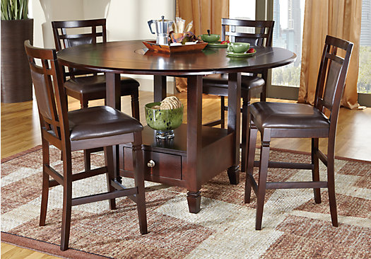 Landon Chocolate Brown 7 Pc Counter Height Dining Set