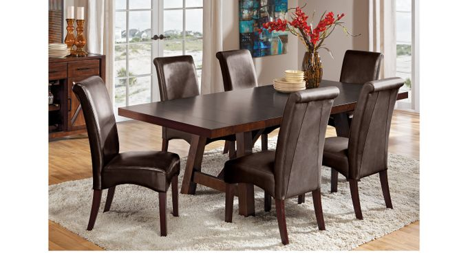 Mango Burnished Walnut (dark brown)  7 Pc Dining Room with Brown Chairs - Rectangle - Traditional