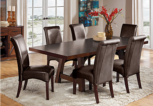 Mango Burnished Walnut 7 Pc Dining Room With Brown Chairs Rectangle Tradi