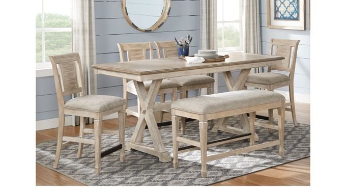 Nantucket Breeze White 3 Pc Counter Height Dining Room