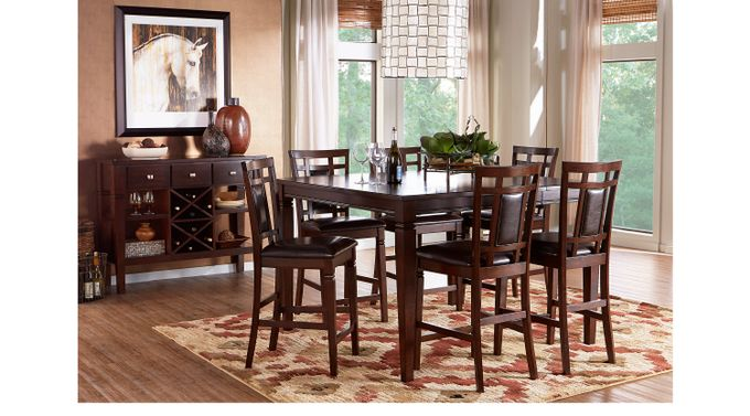 Riverdale Cherry 5 Pc Square Counter Height Dining Room (Padded Chairs) - Transitional