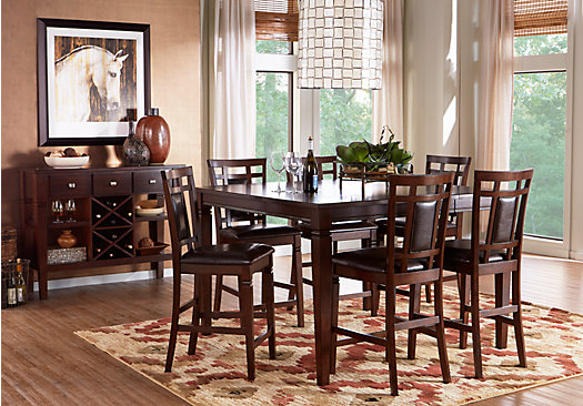 Riverdale Cherry 5 Pc Square Counter Height Dining Room (Padded Chairs)