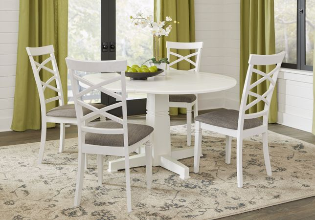 Riverdale White 5 Pc Round Dining Room with X Back Chairs - Transitional
