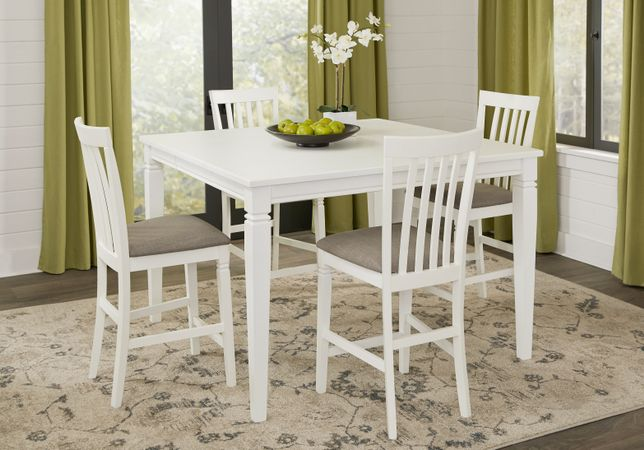 Riverdale White 5 Pc Square Counter Height Dining Room with Slat Back Stools - Transitional