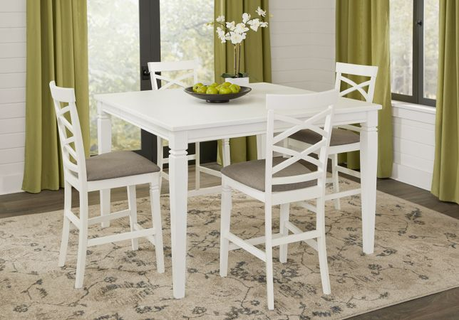 Riverdale White 5 Pc Square Counter Height Dining Room with X Back Stools - Transitional