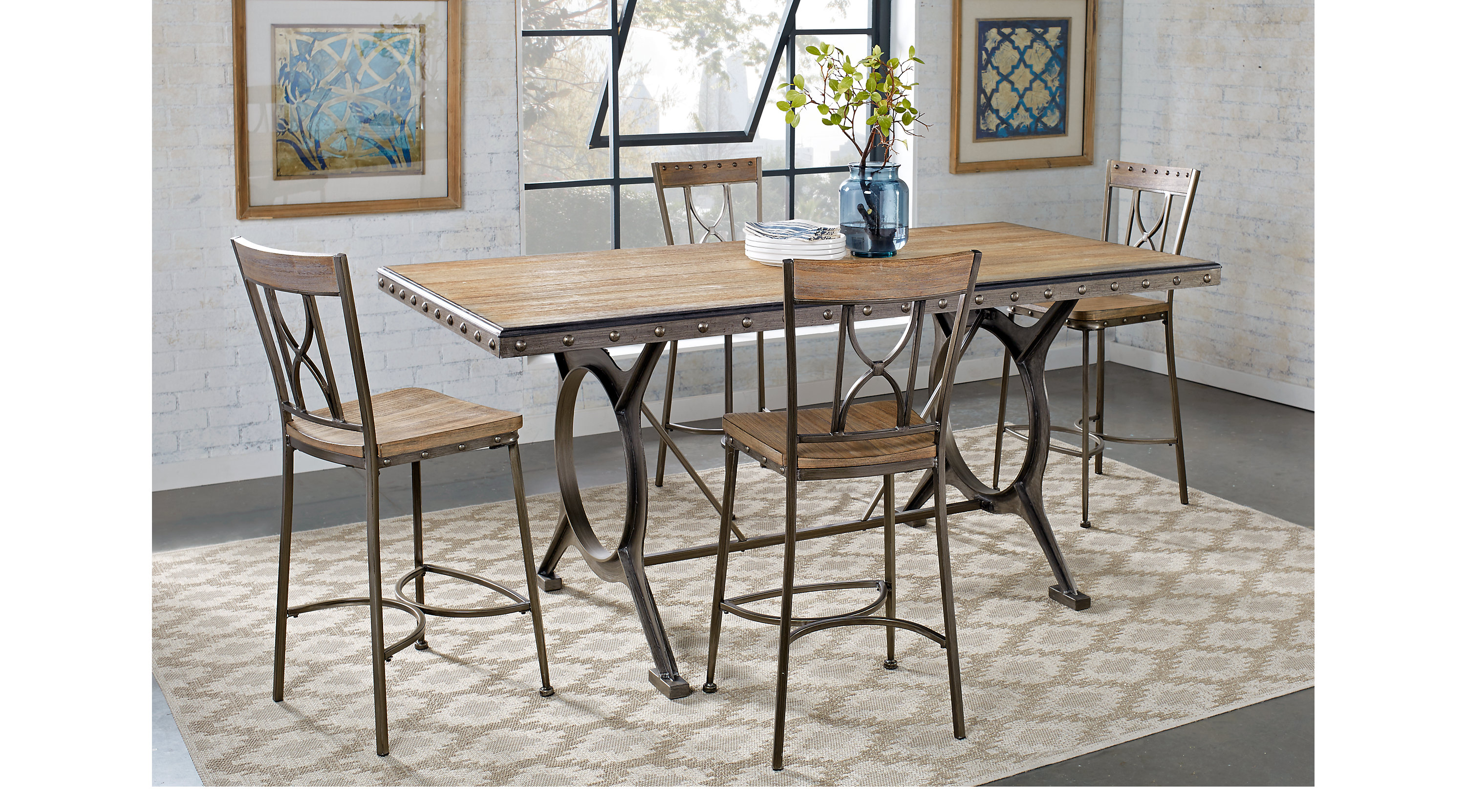 Ross Bridge Brown Rectangle 5 Pc Counter Height Dining Set   Contemporary