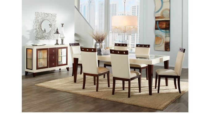 Savona Ivory (off-white)  5 Pc Rectangle Dining Room - Contemporary