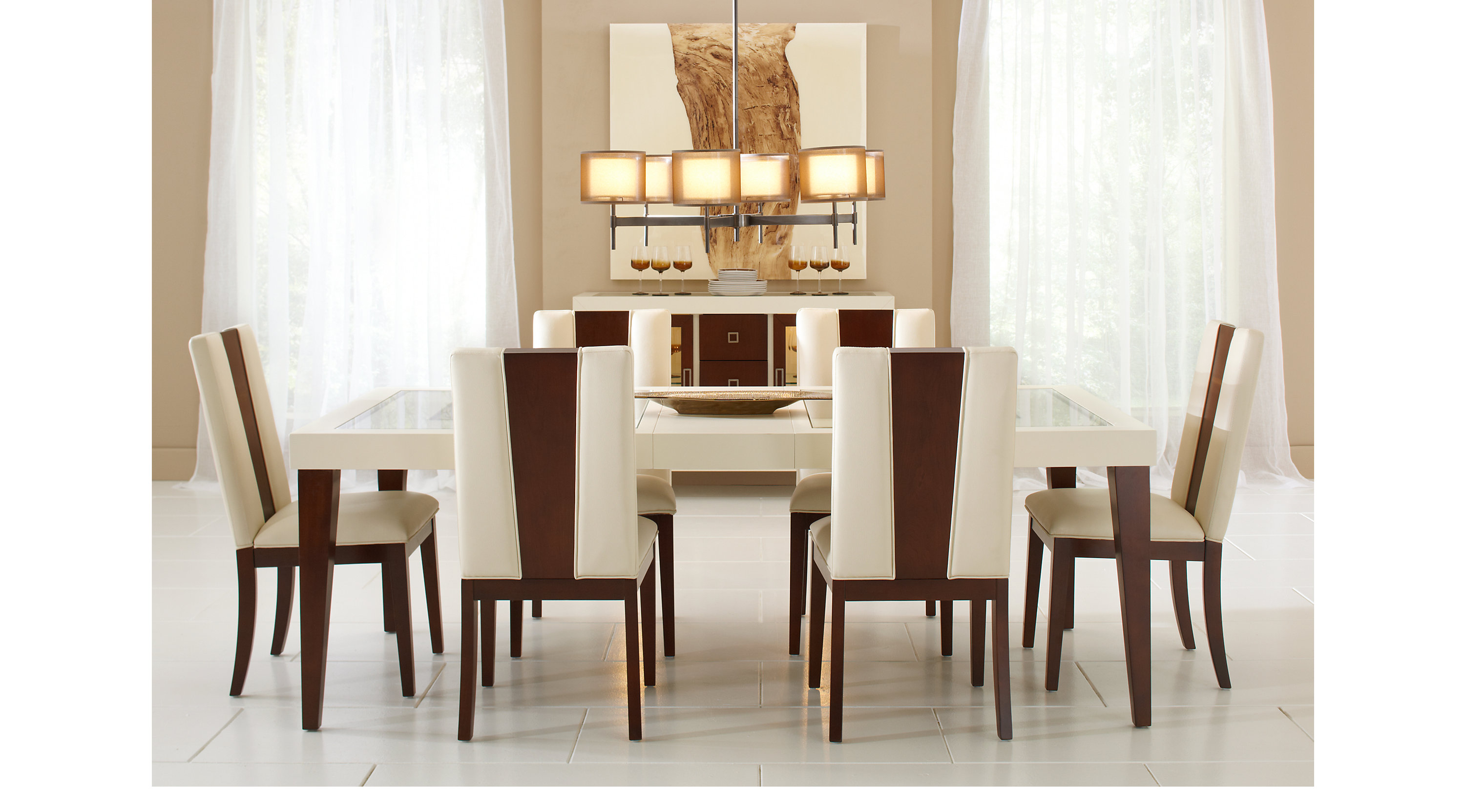 Sofia vergara savona ivory 5 pc rectangle dining room two for 2 tone dining room sets