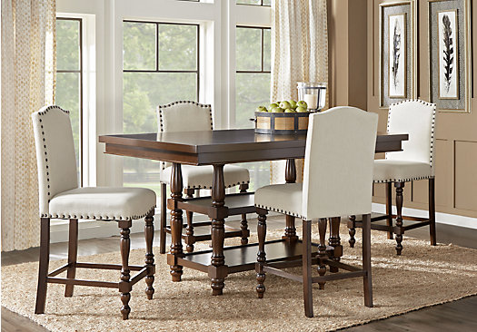 Stanton Cherry 5 Pc Counter Height Dining Room With Ivory Barstools