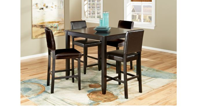 Sunset View Espresso 5 Pc Counter Height Dining Room Brown Barstools