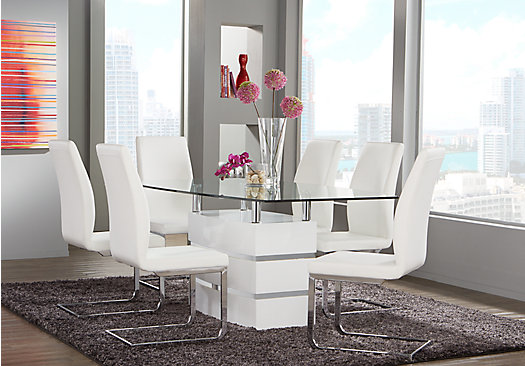Tria White 5 Pc Rectangle Dining Room Contemporary