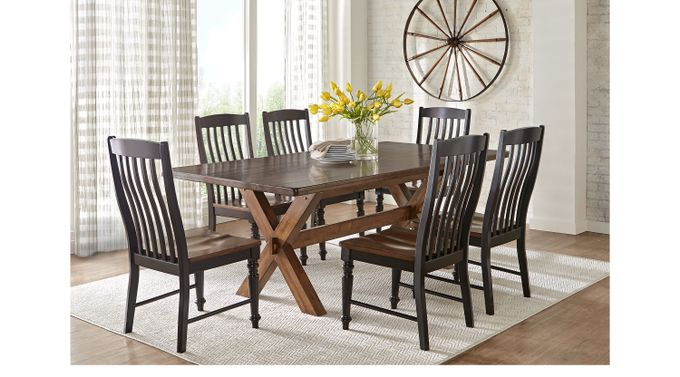 Twin Lakes Brown 5 Pc 72 in. Rectangle Dining Room - Rustic