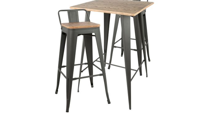 Aldersyde Gray 3 Pc Bar Height Table Set - Square - Contemporary