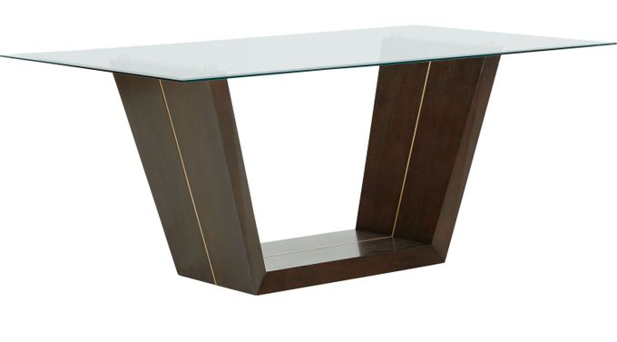 Ambassador Place Espresso (dark brown)  Rectangle Dining Table with Glass Top - Contemporary