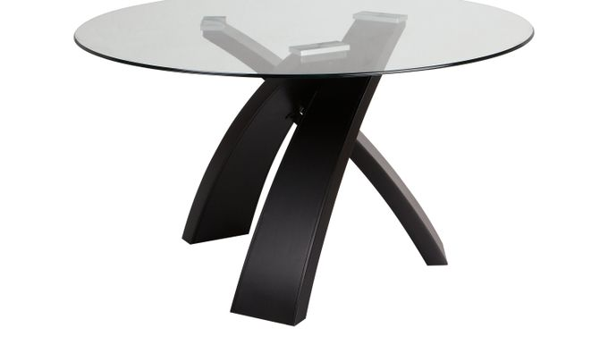 Del Mar Ebony Round Dining Table - Glass Top - Contemporary