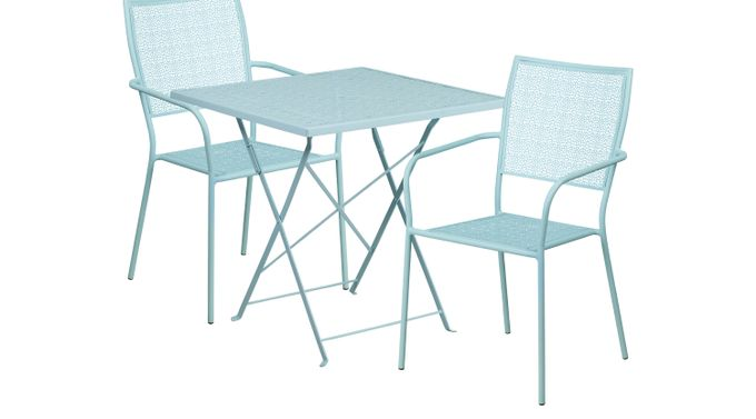 Lakeville Blue 3 Pc 28 in. Square Folding Patio Set - Contemporary
